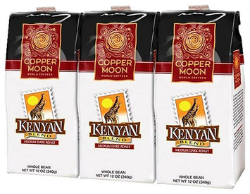Copper :moon Copper Moon Kenya Coffee, Medium Dark Roast, Whole Bean, 12 oz Bags, 3 pk