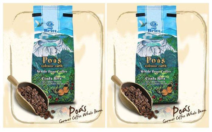 Cafe Britt Coffee, 12 oz Bags, 2 pk, Poas Volcanic Earth Whole Bean