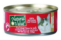 Natural Value Cat Food - Red Meat Tuna in Jelly with Shrimp - 24 x 5.5 oz