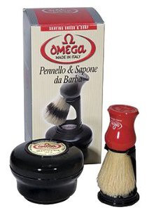 Omega Shaving Set with Brush, Holder, and Soap in Bowl
