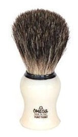 Omega Creamy Curved Handle Pure Badger Shaving Brush