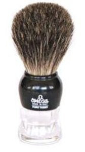 Omega Stripey 100% Pure Badger Shaving Brush with Stand