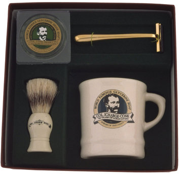 Colonel Conk Model # 222 Mug, Gold Tone Razor, Deluxe Boar Brush, and Soap