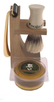 Colonel Conk Model 237 4-Piece Hardwood Stand Shave Set with Deluxe Boar Brush, Gold Razor & Soap