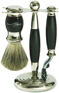Edwin Jagger S81m356 Hand Assembled English Faux Ebony Three Piece Shaving Set, Black