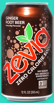 Zevia Zero Calorie Ginger Root Beer Soda Soft Drink