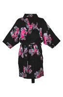 Personalized Black Floral Satin Robe