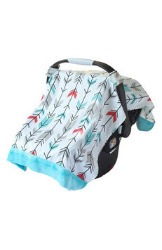 Itzy Ritzy Cozy Happens Muslin Infant Car Seat Canopy Fletching Arrows with Aquamarine Minky Dot - Itzy Ritzy Diaper and Baby Accessories