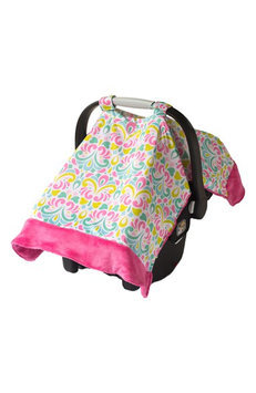 Itzy Ritzy Cozy Happens Infant Car Seat Canopy & Tummy Time Mat Brocade Splash with Hot Pink Minky Dot - Itzy Ritzy Diaper and Baby Accessories