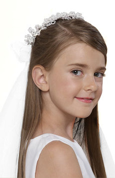 Us Angels - Wreath with Removable Veil (Little Kids/Big Kids) (White) Hair Accessories