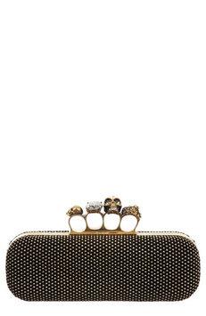 Alexander McQueen Micro-Stud Long Knuckle-Duster Clutch Bag, Black