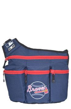 Diaper Dude Llc Diaper Dude MLB Atlanta Braves Messenger Diaper Bag in Navy