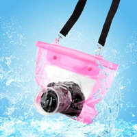 DSLR SLR Camera Waterproof Underwater Housing Case Pouch Dry Bag For Canon Nikon - Pink