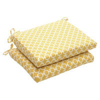 Pillow Perfect Outdoor 2-Piece Chair Cushion Set - Yellow/White Geometric