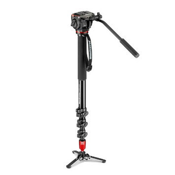 Manfrotto 4 Section Aluminum Monopod with MHXPRO-2W Head and Fluid Base, 8.8lbs Capacity, 78.7
