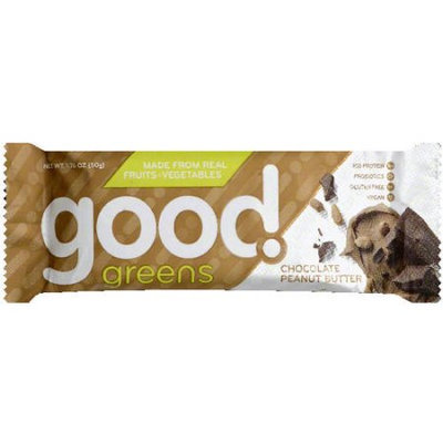 Good Greens Chocolate Peanuts Butter Bar, 1.76 oz, (Pack of 12)