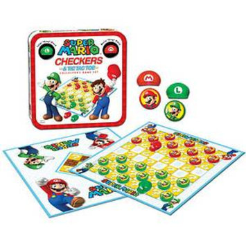 USAopoly Super Mario Checkers and TicTacToe in a Tin Ages 6+, 1 ea