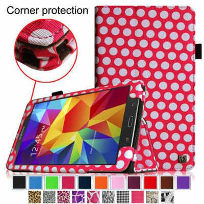 Fintie Folio Premium Vegan Leather Case Cover for Samsung Galaxy Tab 4 8.0 inch Tablet, Polka Dot Pink