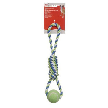 Hagen Dogit Striped Cotton Spiral Tug with Tennis Ball, 18-Inch