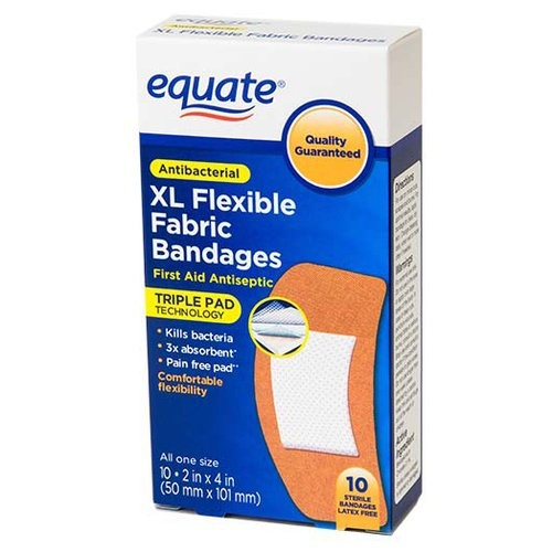 Equate XL Flexible Fabric Bandages, 10 count