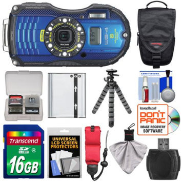 Ricoh WG-4 Shock & Waterproof GPS Digital Camera (Blue) with 16GB Card + Battery + Case + Floating Strap + Flex Tripod + Accessory Kit