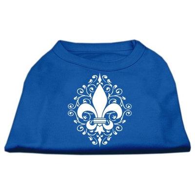 Ahi Henna Fleur de Lis Screen Print Shirt Blue Sm (10)