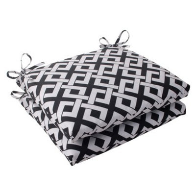 Pillow Perfect Outdoor 2-Piece Square Seat Cushion Set - Black/White Boxed In