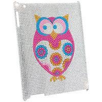 KTA Apple iPad 2/3 Bling Rhinestone Pink Owl Case, Silver