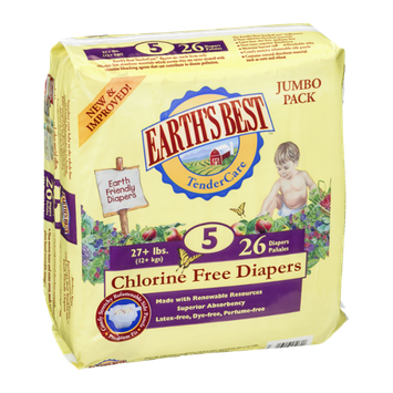 Earth's Best TenderCare Chlorine Free Diapers Size 5 - 26 CT