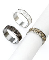 Chilewich - Mini Basketweave Set of 2 Napkin Rings - White