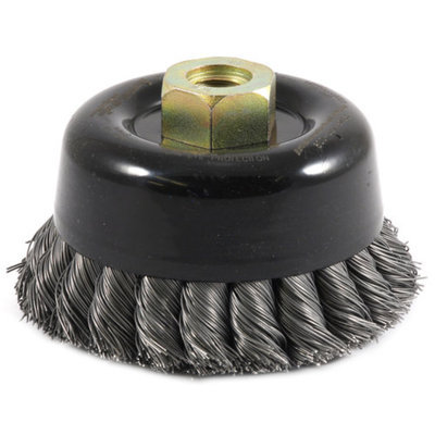 Forney 72868 Wire Cup Brush Industrial Pro Twist Knot Double Row with 5/8-Inch-11 and M14-by-2.0 Mul