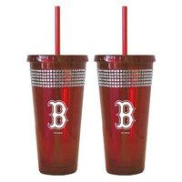 Boelter Brands MLB Rangers Set of 2 Bling Straw Tumbler - 22oz