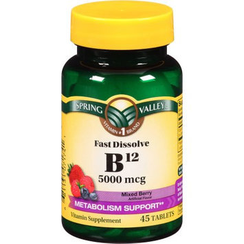 Spring Valley Mixed Berry Fast Dissolve B12 Vitamin Supplement Tablets, 5000mcg, 45 count