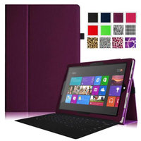 Fintie Folio Slim-Fit PU Leather Stand Cover with Stylus Holder for Microsoft Surface Pro 3 12-inch Tablet, Purple