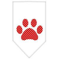 Ahi Red Swiss Dot Paw Screen Print Bandana White Small