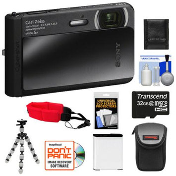 Sony Cyber-Shot DSC-TX30 Shock & Waterproof Digital Camera (Black) with 32GB Card + Battery + Case + Floating Strap + Flex Tripod + Accessory Kit