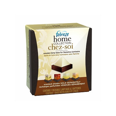 Febreze Home Collection Chez-Soi Wooden Lamp Base for Flameless Luminary