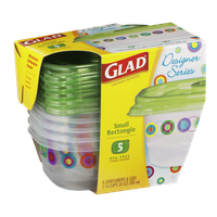 Glad Designer Series Small Rectangle Containers & Lids - 5 CT