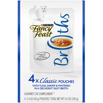 Purina Fancy Feast Broths Classic with Tuna, Shrimp and Whitefish Cat Food Pouches, 1.4 oz, 4-Pack
