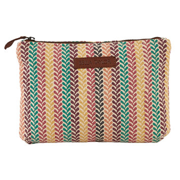 Bella Taylor Pacific Grove Personal Pouch Set of 2 Cosmetic Case Makeup Bag Travel 6.25x9x5 And 5x7x5