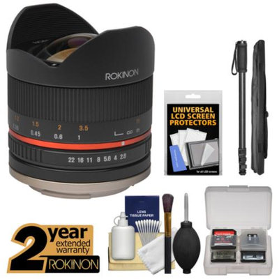 Rokinon Series II 8mm f/2.8 Fisheye Lens with 2 Year Ext. Warranty + Monopod Kit for Fuji X-A1, X-E1, X-E2, X-M1, X-T1, X-Pro1 Camera