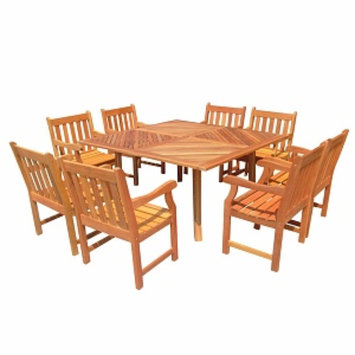 VIFAH FSC Eucalyptus Outdoor Dining Set with Square Table, Natural, 1 ea