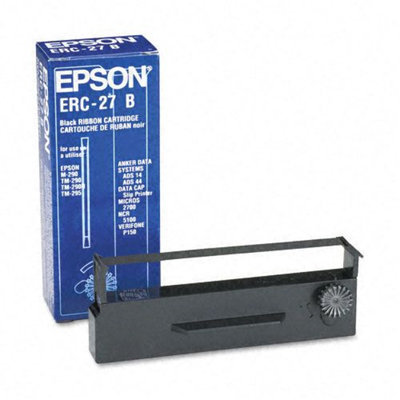 Epson EPSERC27B ERC27B Cash Register Ribbon, Nylon, Black