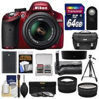 Nikon D3200 Digital SLR Camera & 18-55mm G VR DX AF-S Zoom Lens (Red) with 64GB Card + Case + Battery + Grip + Tripod + Lens Set + 3 (UV/CPL/ND8) Filters