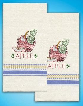 Design Works Crafts, Inc. Tobin Stamped Kitchen Towels For Embroidery-Apple