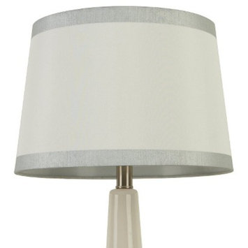 Threshold Linen With Silver Metallic Trim Lamp Shade - White Large