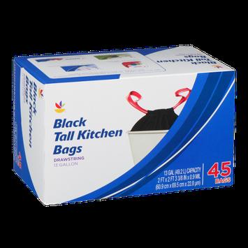 Ahold Black Drawstring Kitchen Bags Tall 13 Gallon - 45 CT