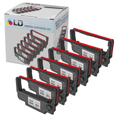 LD Epson Compatible Replacement 6 Pack Black and Red POS Ribbon Cartridges - ERC38BR