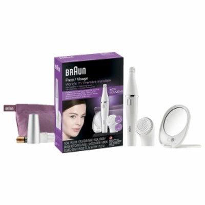Braun Face / Visage Mini Epilator + Cleansing Brush Set, (Includes White Pouch), 1 set
