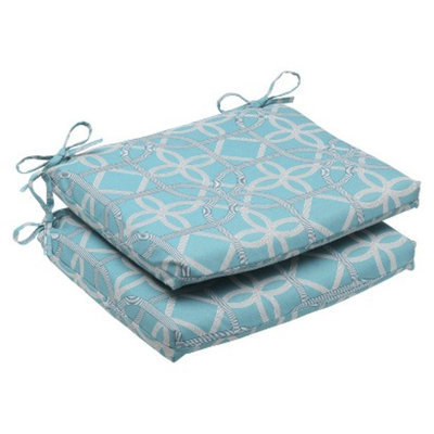 Pillow Perfect Outdoor 2-Piece Square Edge Seat Cushion Set - Blue/Brown Keene